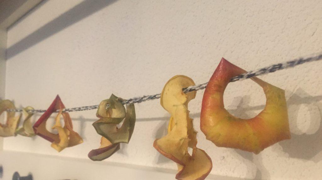 An Schnur getrocknete Apfelringe