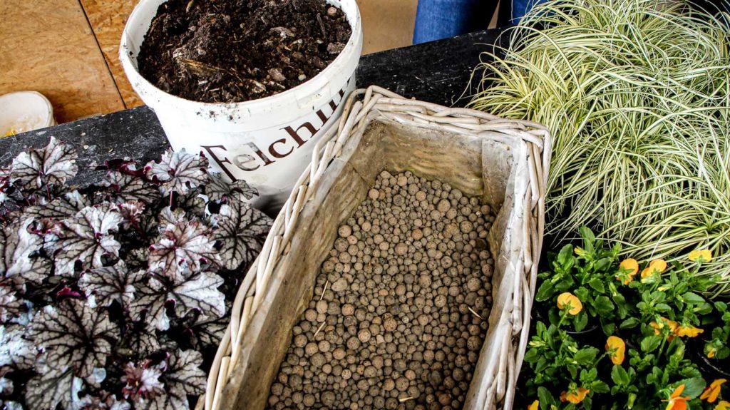Pflanzen, Kübel mit Erde und Kiste