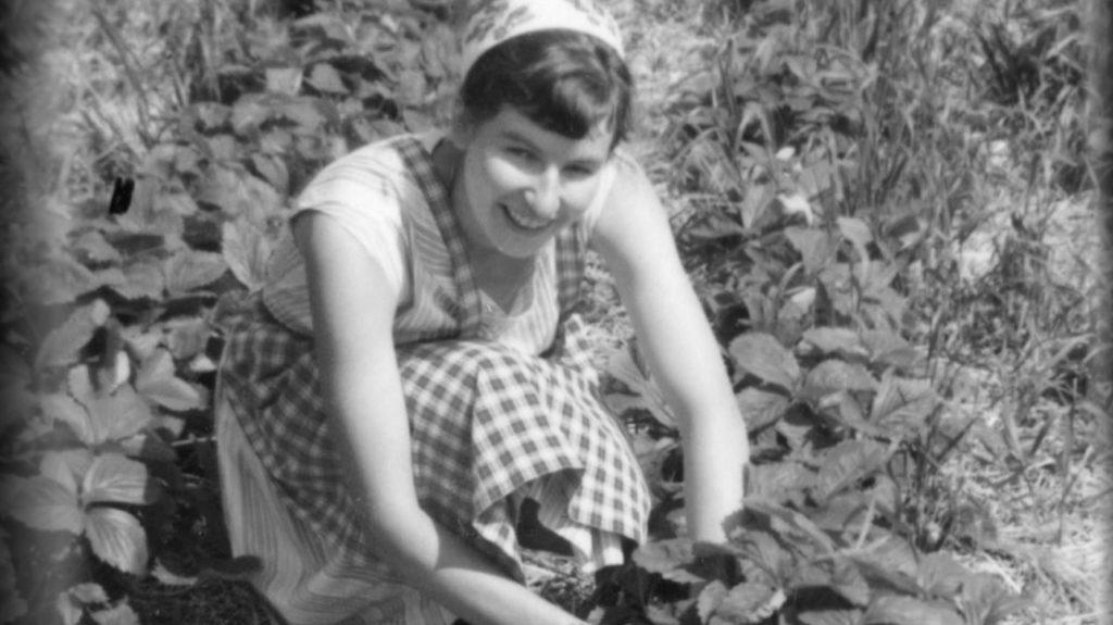 Junge Elsbeth im Erdbeerfeld