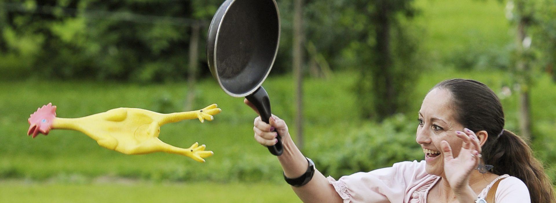 Erlebnisprogramm Teambuilding Hühnerschleudern