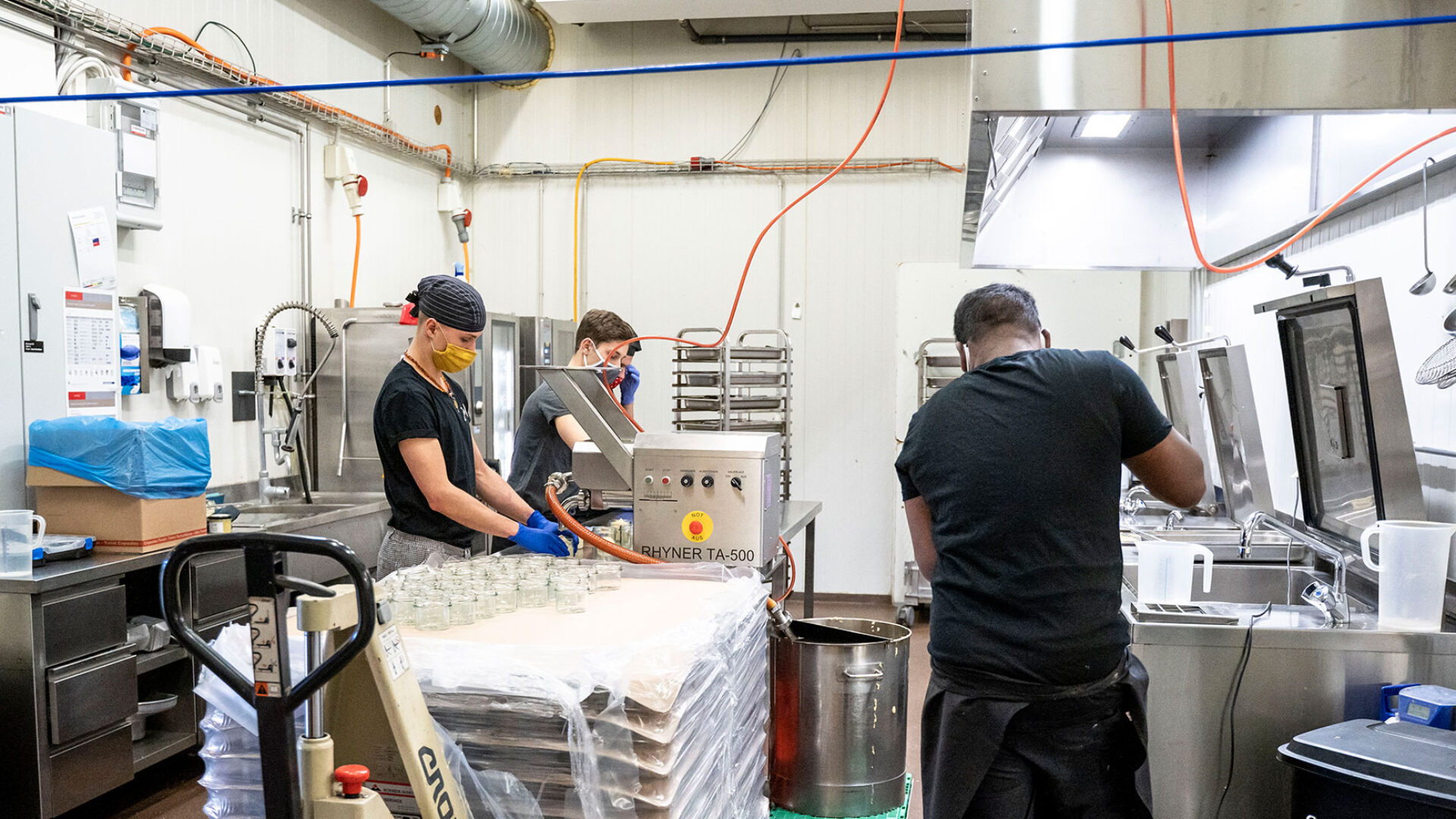 Hummus Produzieren Teamwork