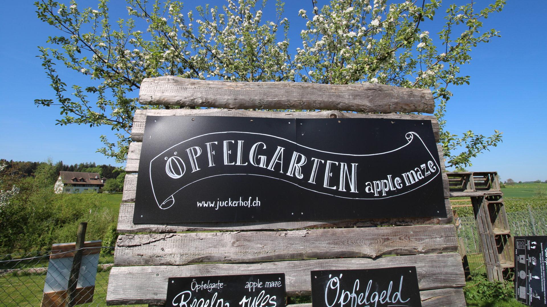 Juckerhof ÖpfelGarte Tafel