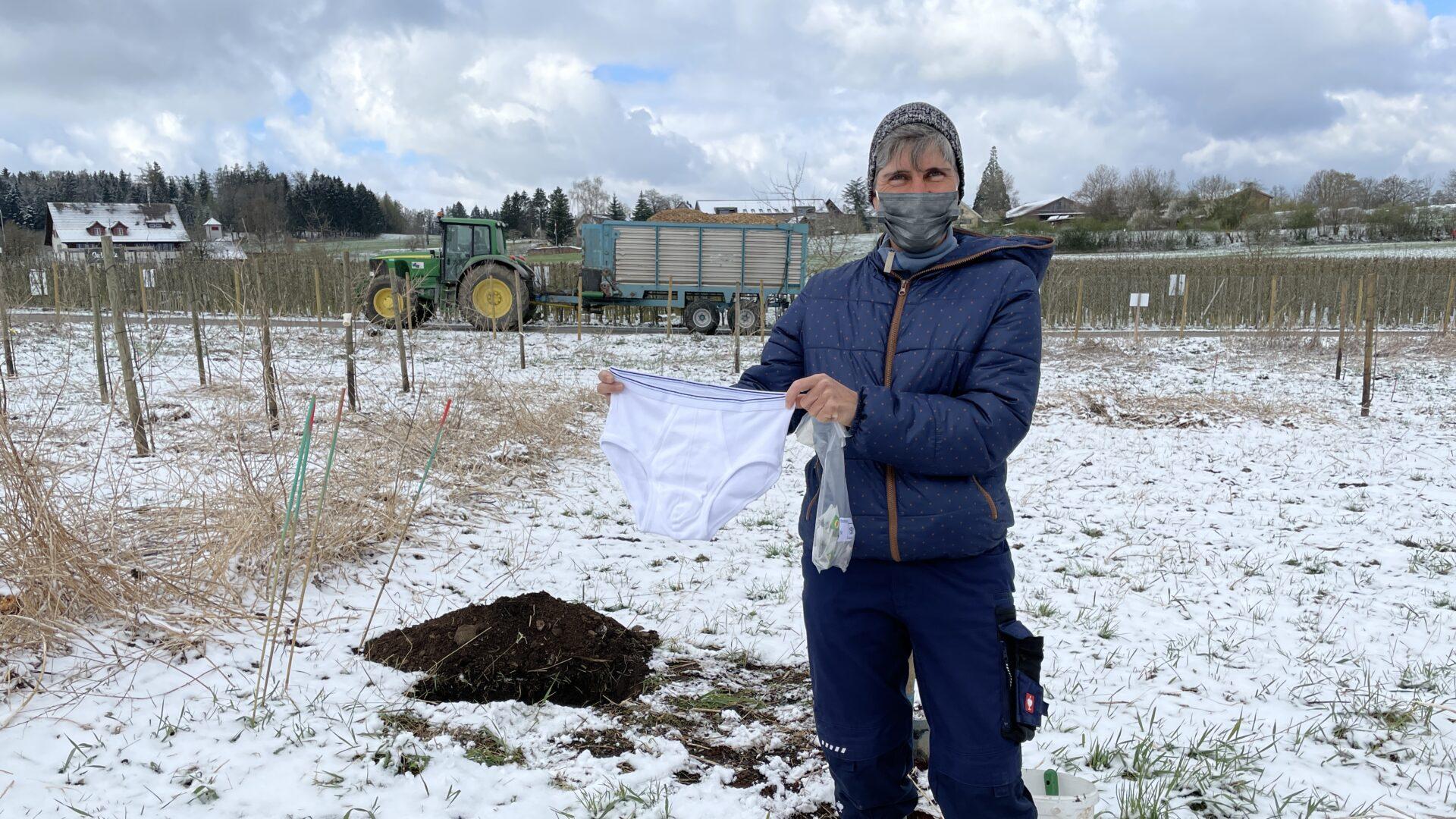 Unterhosen werden vergraben auf dem Juckerhof