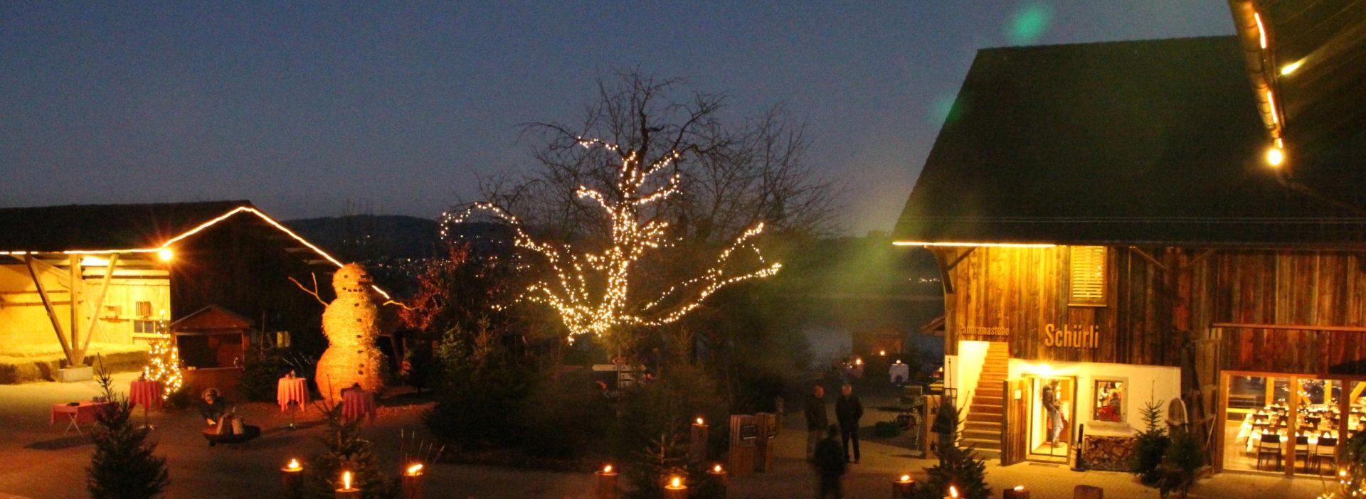 Juckerhof Hofplatz Weihnachtsfeier