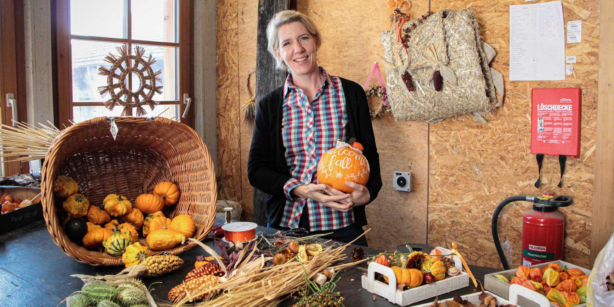 Nadine Jucker ist auf dem Juckerhof zuständig für die Dekorationen.